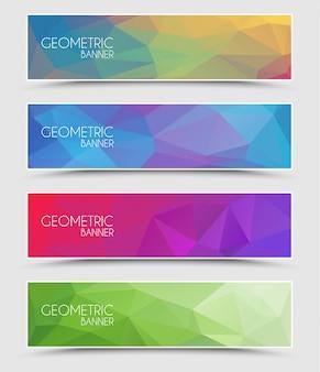 Ensemble de bannières polygonales géométriques