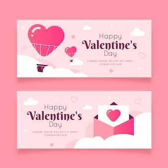 Ensemble de bannières pour le design plat valentine