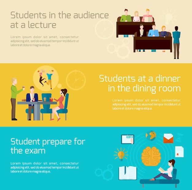 Ensemble de bannières pour étudiants