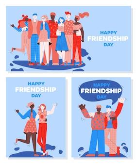 Ensemble de bannières pour la journée de l'amitié avec illustration de personnages de personnes