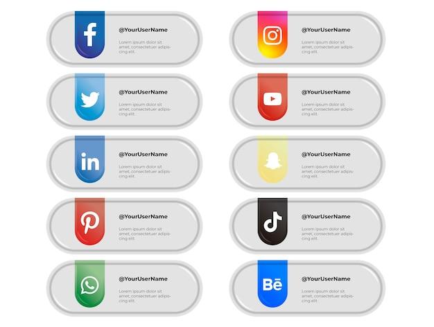 Ensemble de bannières pour les médias sociaux sur des bulles grises