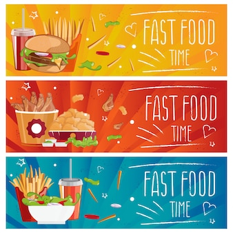 Ensemble de bannières pour la restauration rapide à thème avec hamburgers, frites, cola et nuggets de poulet. illustration
