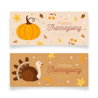 Ensemble de bannières pour le thanksgiving design plat