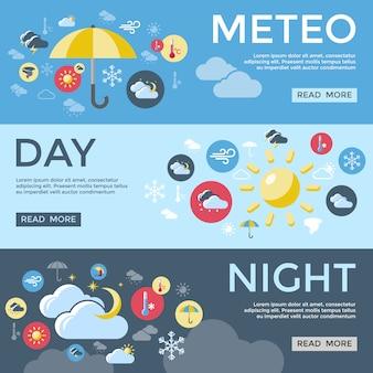 Ensemble de bannières de prévisions météorologiques