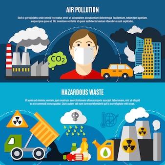 Ensemble de bannières de problèmes de pollution
