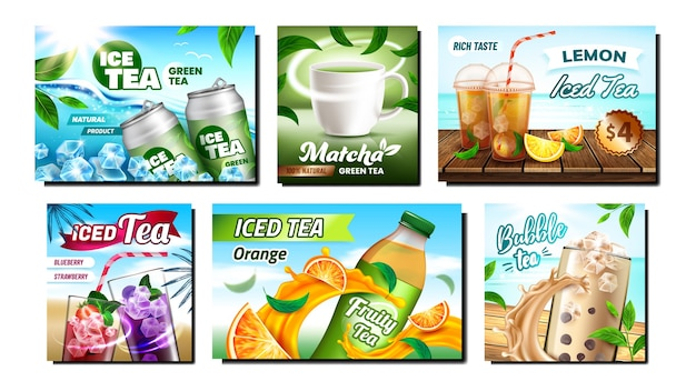 Ensemble de bannières promotionnelles créatives ice tea