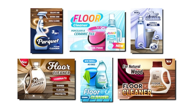Ensemble de bannières promotionnelles créatives pour nettoyeur de sol