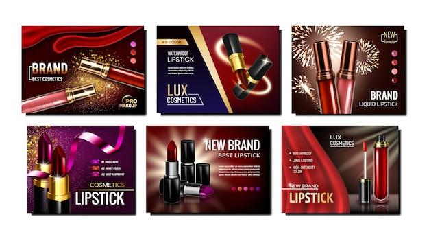 Ensemble de bannières publicitaires créatives de rouge à lèvres