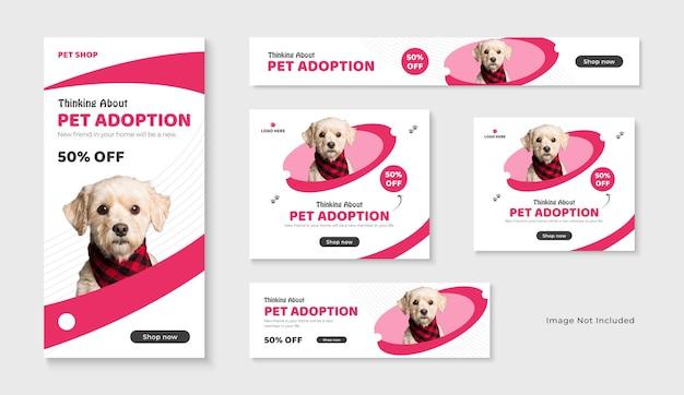 Ensemble de bannières publicitaires google et facebook pour la vente d'animaux