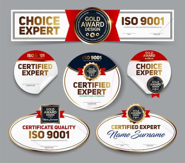 Ensemble de bannières de qualité de certificat mini vecteur avec protection de ligne et emblème de récompense d'or