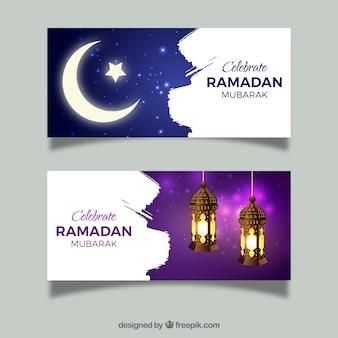 Ensemble de bannières de ramadan avec la lune et les lampes