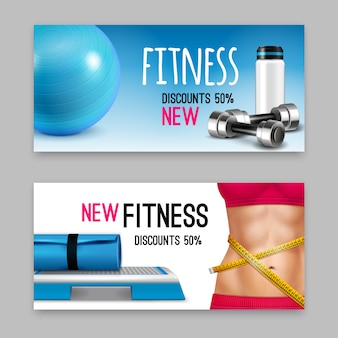 Ensemble de bannières réalistes d'accessoires de fitness