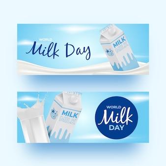 Ensemble de bannières réalistes de la journée mondiale du lait
