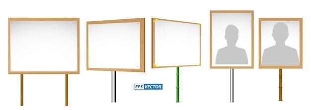 Ensemble de bannières réalistes simulées sur un bâton de bois isolé ou une bannière de démonstration pancarte de protestation