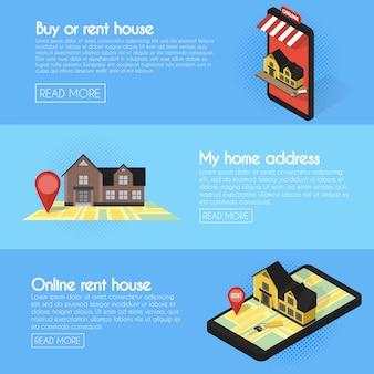 Ensemble de bannières de recherche en ligne immobilier
