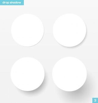 Ensemble de bannières rondes blanches avec ombre portée - illustration. matériel .