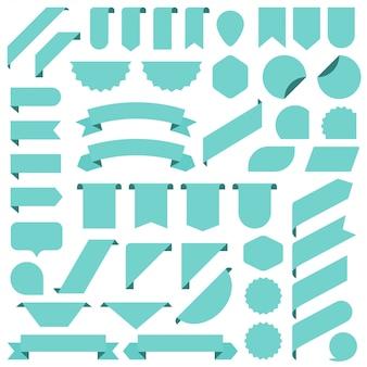 Ensemble de bannières de ruban blanc turquoise