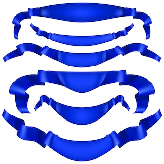Ensemble de bannières de ruban bleu sur fond blanc.
