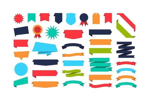 Ensemble de bannières de ruban de forme différente collection de bannières colorées design plat étiquettes étiquettes et rubans