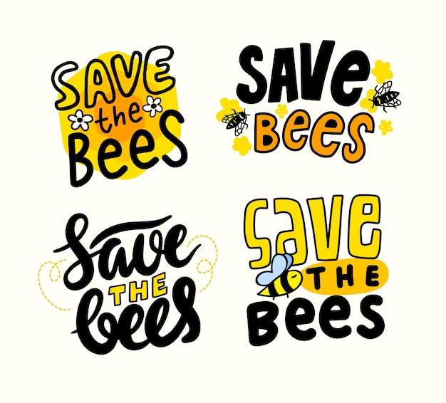Ensemble de bannières save the bees, creative design elements, police pour la journée mondiale des abeilles et protection contre les insectes. typographie, graphiques, lettrage ou calligraphie isolé sur fond blanc. illustration vectorielle