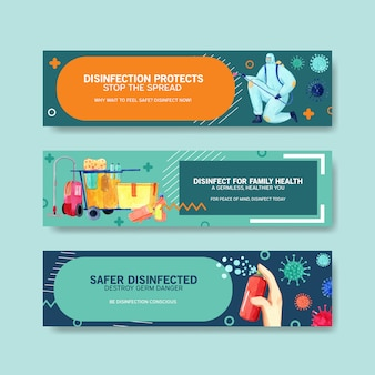 Ensemble de bannières de sécurité sur le coronavirus
