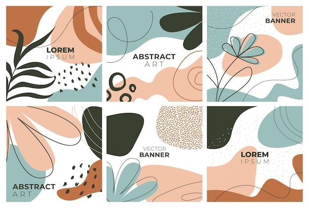 Ensemble de bannières de style memphis de modèles colorés avec des motifs de formes géométriques avec memphis