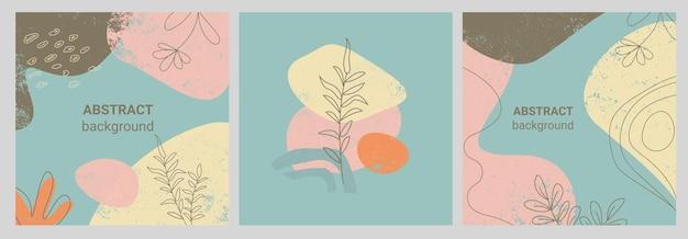 Ensemble de bannières de style memphis de modèles colorés avec des motifs de formes géométriques