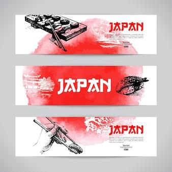 Ensemble de bannières de sushis japonais. illustrations de croquis aquarelle dessinés à la main