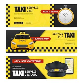Ensemble de bannières de taxi