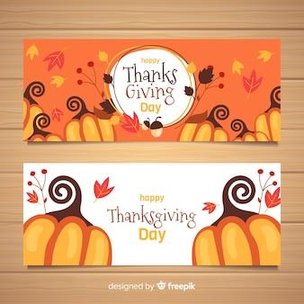 Ensemble de bannières de thanksgiving design plat
