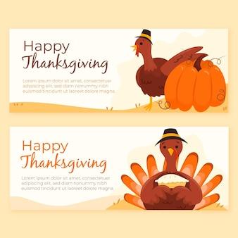 Ensemble de bannières de thanksgiving dessinés à la main