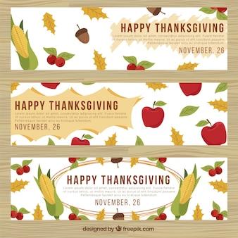 Ensemble de bannières thanksgiving avec des feuilles et des aliments sains