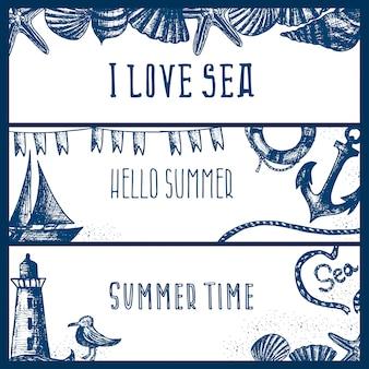 Ensemble de bannières sur le thème de la mer dessinés à la main.