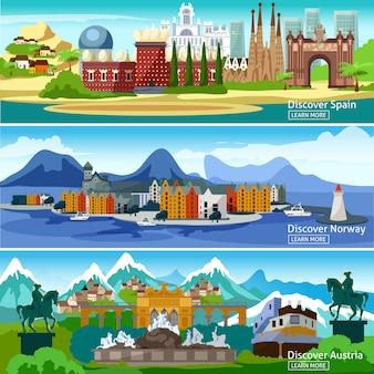 Ensemble de bannières touristiques européennes
