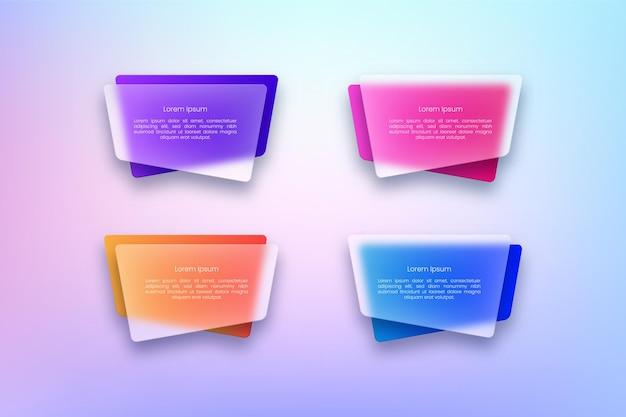 Ensemble de bannières transparentes colorées