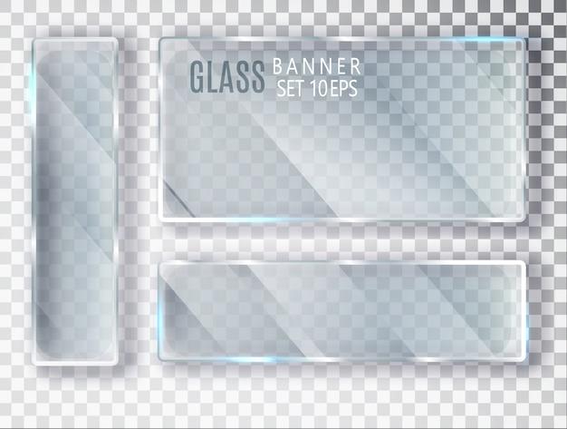 Ensemble de bannières transparentes en verre. verre plat.