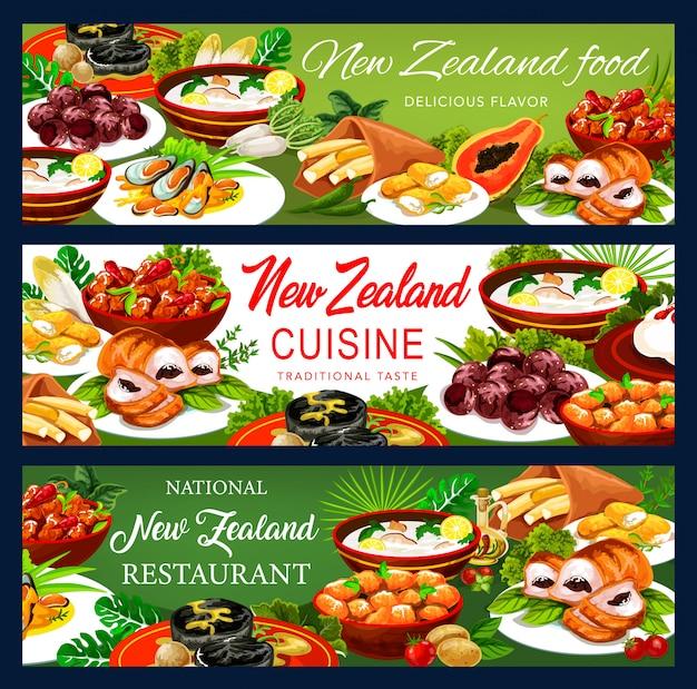 Ensemble de bannières de vecteur de dessin animé nouvelle cuisine zélandaise