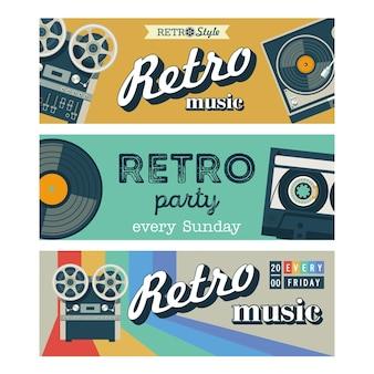 Ensemble de bannières vectorielles. musique rétro, fête rétro.
