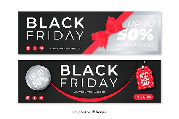 Ensemble de bannières vendredi design plat noir