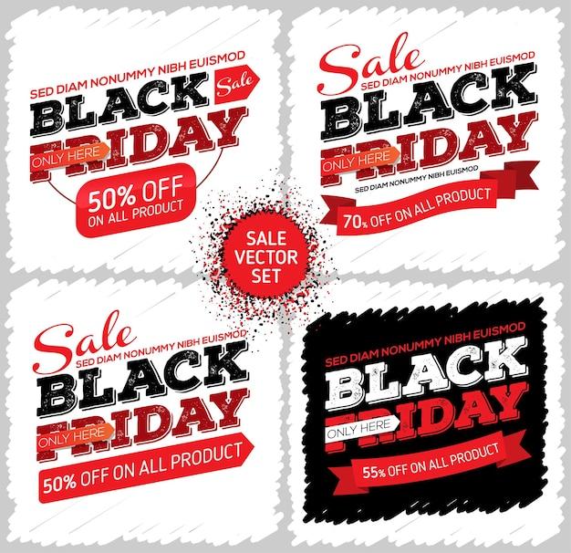 Ensemble de bannières vendredi noir vente vendredi noir regroupées pour une édition facile