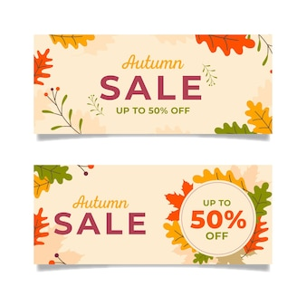 Ensemble de bannières de vente automne design plat