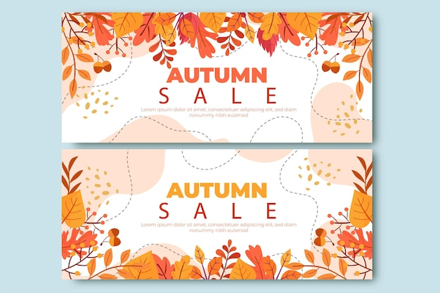 Ensemble de bannières de vente d'automne dessinés à la main