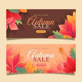 Ensemble de bannières de vente d'automne horizontal dégradé