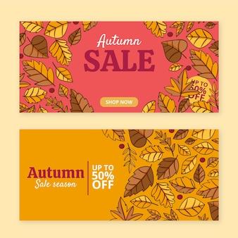 Ensemble de bannières de vente d'automne horizontales dessinées à la main