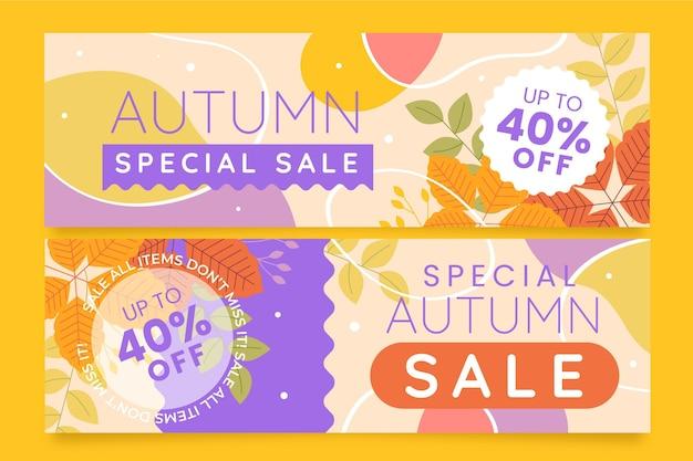Ensemble de bannières de vente d'automne horizontales plates