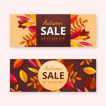 Ensemble de bannières de vente d'automne horizontales réalistes