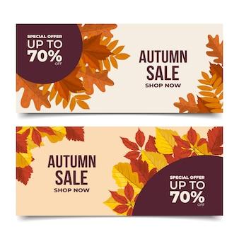 Ensemble de bannières de vente d'automne plat