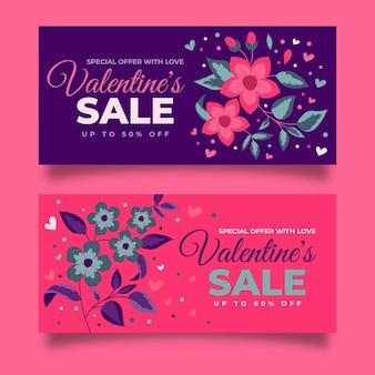 Ensemble de bannières de vente dessinés pour la saint-valentin