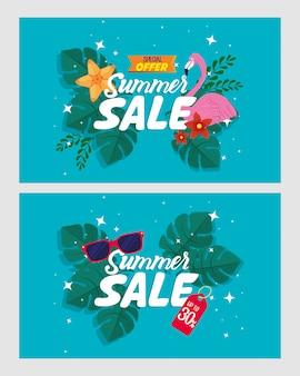 Ensemble, bannières de vente d'été, affiche de réduction de saison avec flamand, feuilles tropicales, lunettes de soleil, invitation pour faire du shopping avec étiquette de vente d'été