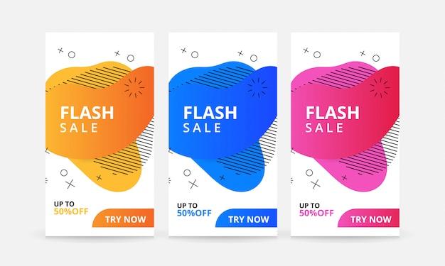 Ensemble de bannières de vente flash avec liquide moderne dynamique